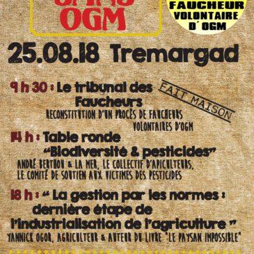 """Les faucheurs """"faites sans OGM"""" le samedi 25 Août à Trémargat"""